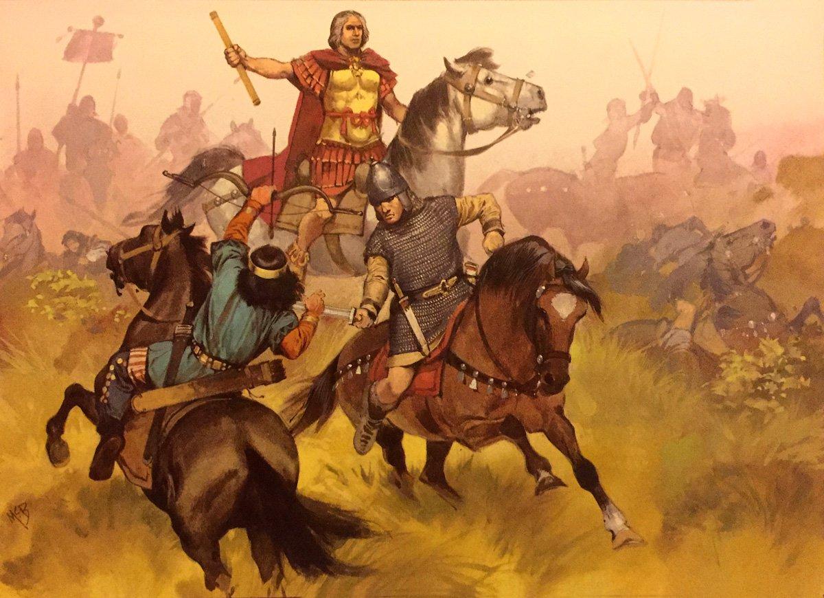 Oldhammer Blandford Warriors ex-Citadel Flavius Aetius, by Angus McBride
