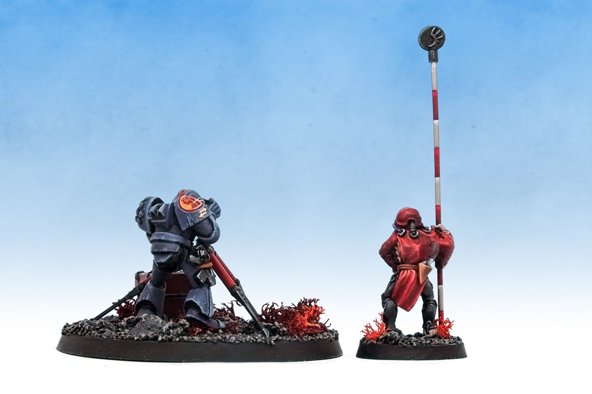 Rogue Trader Adeptus Mechanicus and Space Marine survey team