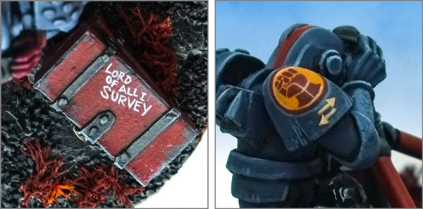 Rogue Trader Adeptus Mechanicus and Crimson Fists Space Marine survey team Brother Groma details