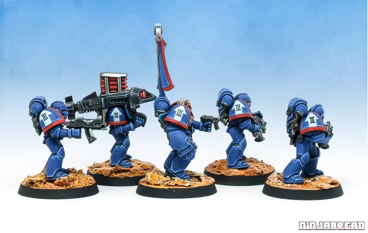 Space Marines Ultramarines Squad Rhenus 1990s 40k